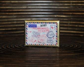 Belt Buckle – Vintage print belt buckle - Interchangeable Belt Buckle – Envelope belt buckle – Square shape belt buckle - SQR-ANG-010