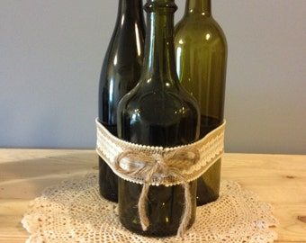 Burlap Glass Bottle Centerpiece