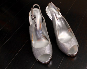 sparkly silver open toe stilettos - 7
