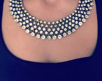 Zara inspired Kate Middleton Clear Rhinstone Statement Necklace White Gold Base