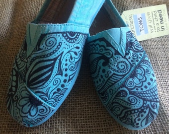 Custom Henna Design Toms Size 7.5 Turquoise