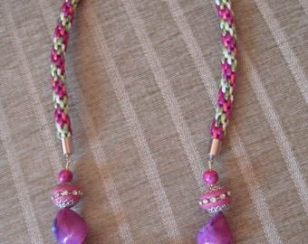 Funky kumihimo and bead necklace