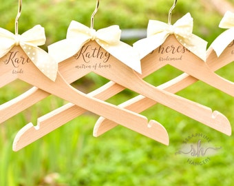 SET OF 3 Bride Hangers/Wedding Dress Hanger/Bridesmaid Gift/Bridal Party Hanger/Personalized Hanger/Engraved Hanger H03