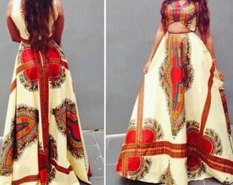 Dashiki high waist skirt & top