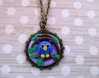 Handcrafted Artisan Polymer Clay Owl Pendant Necklace, Handmade Pendant, Blue Pink Owl, Night Owl, Cute Owl
