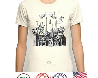 Organic Cotton Tshirt, Comic Funny Tee, Medieval Middle Ages, Church Architecture, Artsy Graphic T Shirt, Vegan Eco Friendly, Fantasy Art