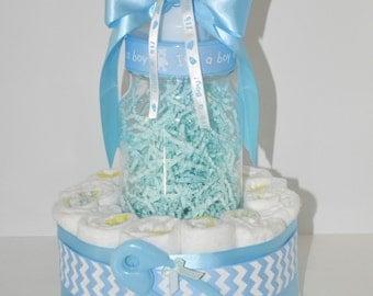 boy baby shower centerpiece chevron diaper cake w big baby bottle