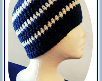 Ready To Ship Crochet Men's Beanie, Dallas Cowboys, Navy Blue & White Hat, Team Colors Hat