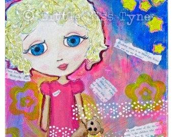 """Dream - Mixed Media Painting Original Canvas Art Decor - 6""""x6"""""""