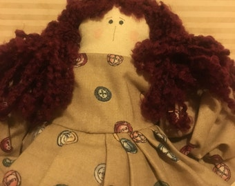 FREE SHIP. Rag Doll Fabric. Cotton Fabric. Wool Hair. Handmade. Country Decor.