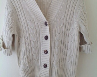 Vintage top, cream top, cropped top, cotton, summer top, short sleeved cardigan,ladies cable sweater, 6-10, 90's