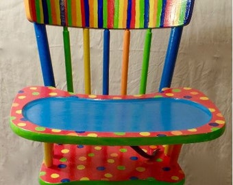 Dots and Strips High Chair, Custom Kids Furniture