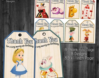 Alice In Wonderland Thank You Tags, Alice In Wonderland Party, Mad Tea Party Favors, Mad Hatter Favors, Instant Download, Printable