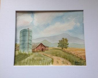 Rt 903 Farm Watercolor, original, landscape, signed, barn, silo, field