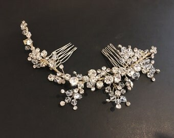Sparkle Bridal Hair Comb - Rhinestone, Crystals, and Bendable Metal Wire - Bridal Accessories, Side Hair Piece, Side Bridal Comb, Applique
