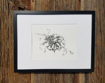 Dried flower graphite drawing - art print
