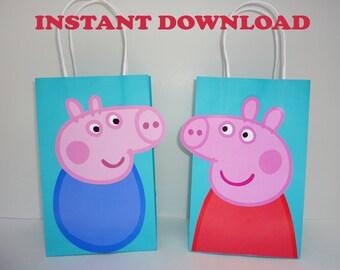 Peppa Pig FAVOR BAGS/ Peppa Pig Birthday/ Peppa Pig Party Bags/ Peppa Pig Party Favors/ Goody/ Loot/ Treat/ Candy Bags/ Peppa & George Party