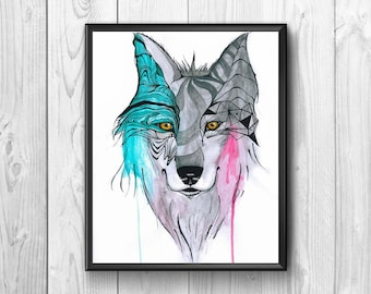 Wolf watercolor bicolor