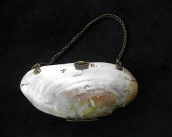 Antique Clam  Shell Coin Clutch Purse  Victorian Era Purse Collectible