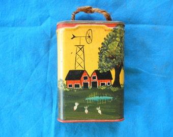 Vintage Hand Painted Prince Albert tobacco Can Folk Art Farm Scene RePurposed