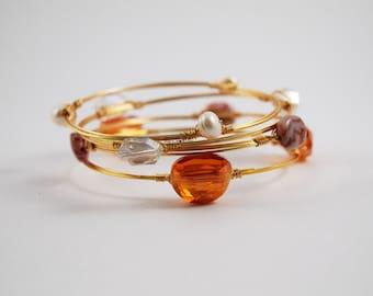 Sunset Bangles- Gold Bangles- Layered Bangles- Orange and Pink Bangles