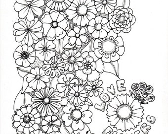 Love Flowers colouring page