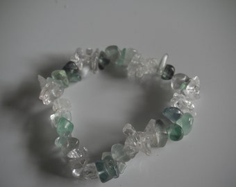 Green flourite and clear crystal stretch bracelet.