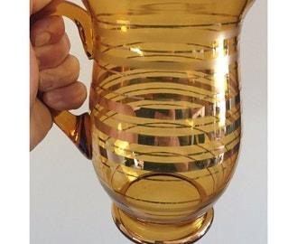 Retro 'Amber Gold' 2lt Glass Pitcher / Jug / Vintage Amber Jug