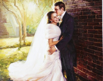 Wedding Painting, Custom wedding portrait, Custom portrait Painting from photo, Wedding gift, Anniversary Gift