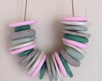 pebbles + stones necklace: petunia