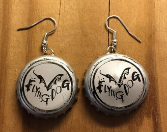 Flying Dog Brewery Bottle Cap Earrings