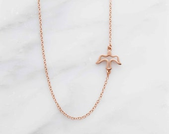 Sideways dove necklace, pendant necklace, girlfriend gift, necklace, layering necklace, bestfriend gift, mom gift, simple necklace,