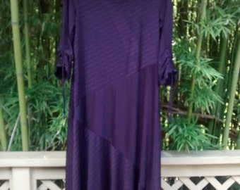 Sale! Seventies Does Deco: Plum with Pink Pinstripe Dress