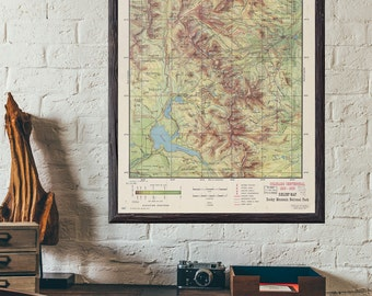 Map of Rocky Mountain Estes Park  - Antique 1959 U.S National Parks Colorado Estes Park 8x10, 11x14