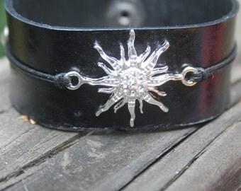 Black Leather Cuff with Glass Sunburst Embellishment