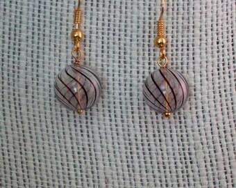 Brown Swirl Ball Earrings