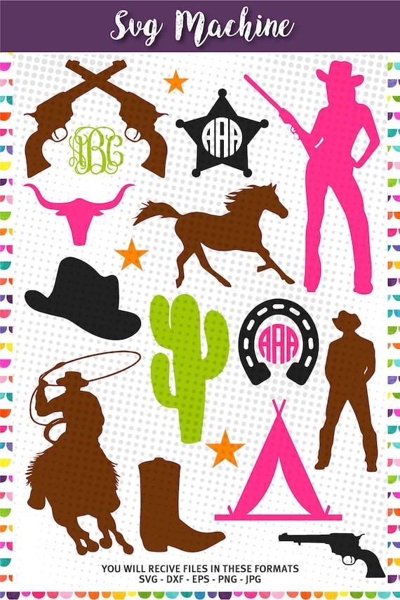 cowboy western monogram frame svg dxf eps cutting files