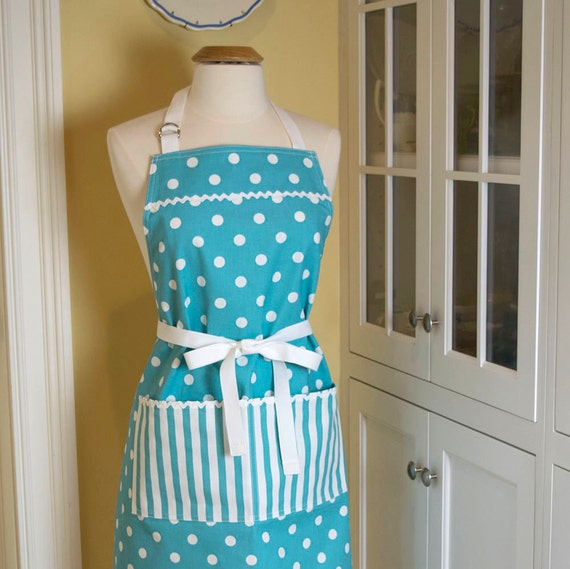 Blue and White Polka Dot Handmade Apron
