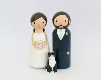 Custom Wedding Cake Topper with pet dog or cat - Bride and Groom - Personalized Wedding Cake