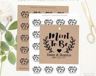 Mint To Be Wedding Tags | DIGITAL DIY PRINTABLE | Personalized Wedding Favor Tags | Craft Rustic Laurels