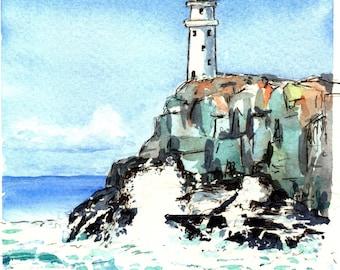 Light House Crashing Waves