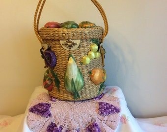 Vintage Straw Purse with Fruit. Made in the Phillipines