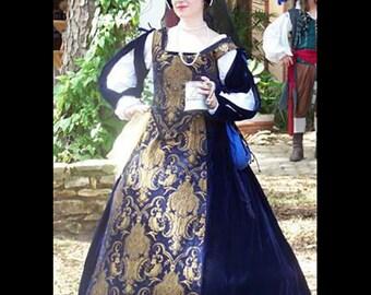 Renaissance Medieval NAVYbrocade NAVY VELVET JULIAN bodice, skirt, detachable sleeves Costume Clothes Clothing