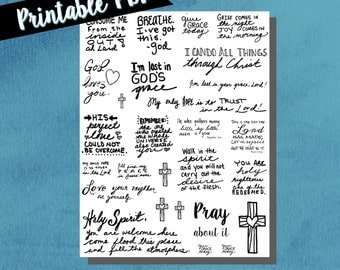 Bible journal stickers, bible journaling, handwritten, hand drawn, notebook stickers, bible stickers, black, printable stickers, cross, pray