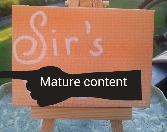 Sirs whore 3.5 x 2.5 inch mature content painting,  bdsm, owned, owner, slave, whore gift, owned gift
