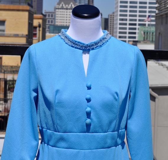 Vintage 1960s Sky Blue Midi Cocktail Dress