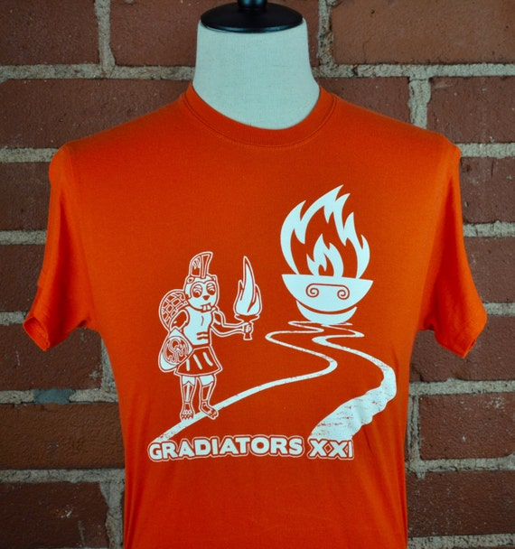 Cal Tech Gradiators Beaver Bright orange Tee T Shirt Sz S