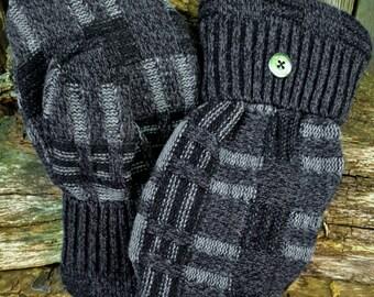 Handmade Black and Gray Sweater Mittens