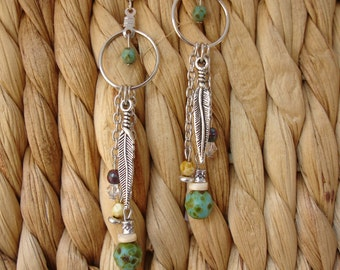 Boho Dangle Earrings - Green