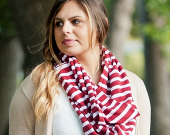 Monogram scarf, womens infinity scarf, garnet stripe scarf, personalized gifts, monogrammed gifts, womens gift